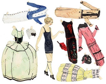 Paper Doll 1920s Printable Paper Doll Art Deco with Masquerade Ball Costume Hand Drawn Paper Doll Digital Instant Download