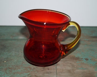 Red Hand Blown Glass Pitcher