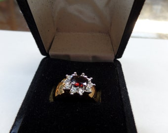 14 kt gold electroplate genuine garnet and cz ring size 7, new old stock