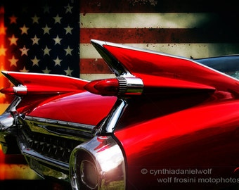 Caddy 1959 Red Car Art, Classic Car Art, Classic Car Prints, Car Wall Art, Car Art, Car Art Prints, Photography, Gifts for Him, Home Décor