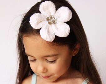 Flower Headband with Jewel Detail White