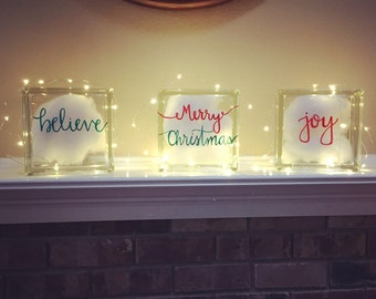 Glassblocks-hand lettered with Christmas sayings