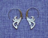 """Tribal Hanging Earrings, """"Orchid"""" Naturally Organic, Mother of Pearl, Brass Tops, Sterling Silver Posts, Hand Carved"""