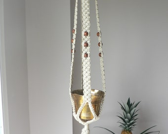 60 Inch Vintage 70's Macrame and Bead Plant Hanger - Vintage Macrame Hanger - Beige - White Macrame Plant Hanger Boho Macrame Plant Hanger