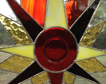 Stained Glass Window Panel / Red Vintage Dish Starburst