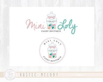 Candy Logo Design Mason Jar Logo Sweets Logo Watermark Bakery Logo Kids Logo