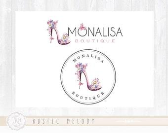 Fashion Logo Design Vintage Boutique Logo shoe Logo Design shabby Chic Logo Floral Logo Watermark