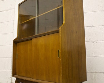 Retro Beautility Mid Century Walnut Teak Veneer Bookcase Sideboard Glass Doors