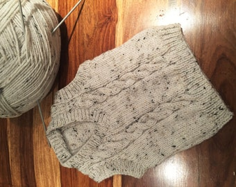 1-2 Year Old Boys Hand Knit Wool Sweater Vest, Gray