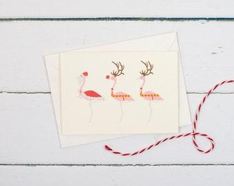 Christmas flamingos- Santa & Reindeers flamingo Christmas card