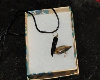 BLACK CORAL14KGOLD inlaid Pelican Pendant