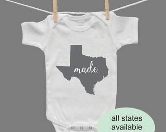 Made In State Themed Gender Neutral Baby Bodysuit Baby Onesie