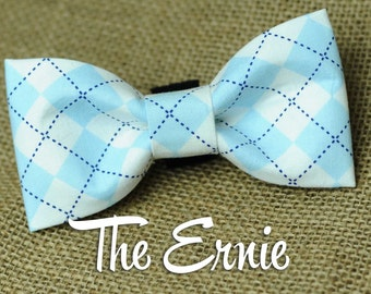 Preppy Argyle Carolina Blue Removable Bow Tie for Dog Collars - Pet Accessories - Dogs
