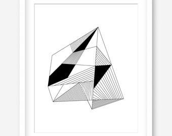 Modern print - black and white printable art - minimalist art - modern printable wall decor - geometric art printable - INSTANT DOWNLOAD