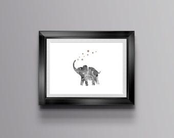 Elephant Bubbles Print