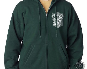 Slyth Crest 2 Pocket size front printed on Deep Forest Zipper Hoodie