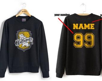 Custom back Huffle Crest #2 on Black Crew neck Sweatshirt