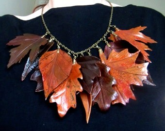 Autumn necklace, autumn leaves necklace, leather leaves necklace, leather Autumn leaves necklace