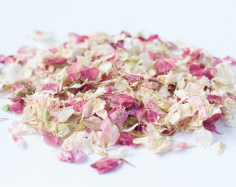 One Litre - Delphinium Wedding Confetti - Natural & Biodegradable - Blush