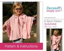 SUSANNE cape / rain cape, sizes 110-152 (5-12 yrs.) / INSTANT DOWNLOAD