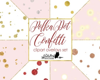Polka Dot Confetti Overlays | Gold Foil, Glitter, Rose Gold, Lights, Silver & More! | Set of 8 PNG Files, 10x10 Resizable  Photoshop Overlay