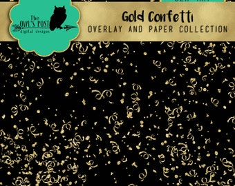 Digital Gold Glitter Confetti Overlay and Paper Pack   1 PNG Photo Overlay & 6 Digital Papers  Great for Scrapbooking, Design, Blogging etc
