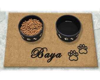D60716 - 12 x 18 DuraCoir Pet Placemat - Paw Prints Personalized