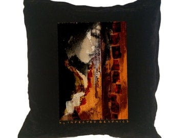 Black cushion. Bed pillow. Unique gift for everyone. By Infected Graphics. Bedroom. Home decor.