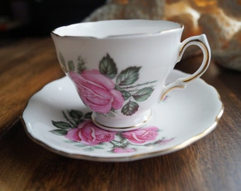 Royal Vale Teacup and Saucer, Pink Roses