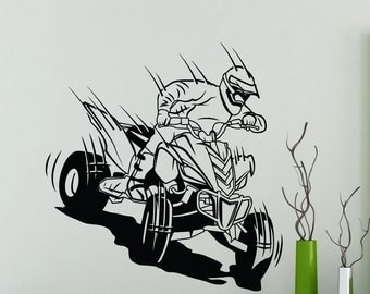 ATV Racer Wall Sticker Garage Car Extreme Sport Vinyl Decal Home Room Interior Decor Waterproof High Quality Mural (29ex)
