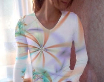 Long sleeve women handmade, printed shirt