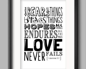 """Love Printable - """"Love Never Fails"""""""