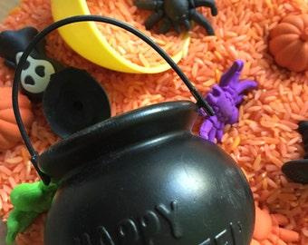 Colored rice sensory box- Halloween!