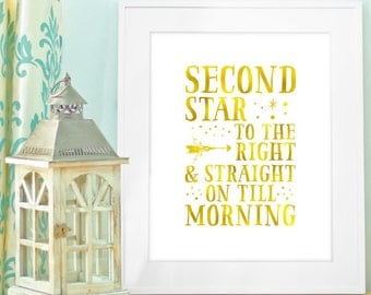 Instant Download, Second Star to the right and straight on till morning, 8x10, peter pan, faux gold style, nursery, baby, child's room