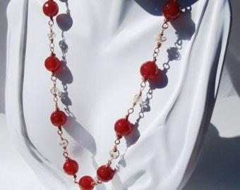 Crystal & Copper Necklace Set