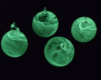 Galaxy Globes - set of 4 small - Hand Blown Glass Christmas Ornament that Glow-in-the-dark