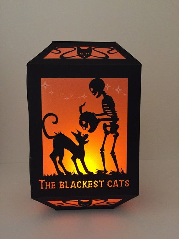 """Paper Lantern / Luminary - Halloween Silhouette -""""Black Cats' night out"""""""