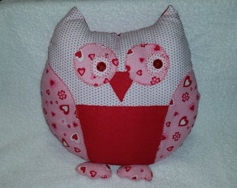 """Cute Owl Pillow with Hearts, Flowers, Polk-a-dots, and button eyes,Pinks, Reds, 11x13"""" Super Soft"""