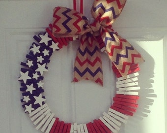 Red white and blue clothes pin wreath