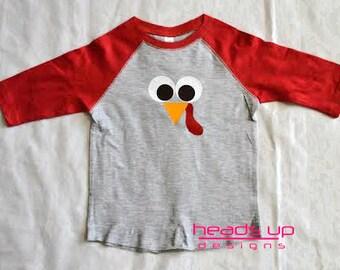Toddler Raglan Turkey Face Shirt Boy/Girl - Baby Girl/Boy Raglan Turkey Onesie - Thanksgiving Turkey tshirt Kids - Thanksgving Tees -