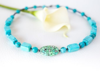 Turquoise gemstone necklace – teal semi precious stone necklace – statement necklace – beaded chunky necklace