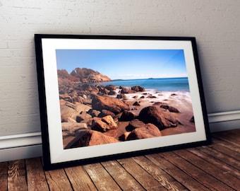 singing beach, manchester-by-the-sea, massachusetts, new england, beach, rocks, ocean, long exposure, photography, fine art print