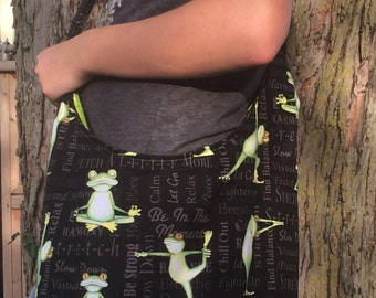 Yoga Frogs Funny Hobo Style Gym Bag Tote Purse