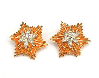Vintage Gold Starburst Earrings