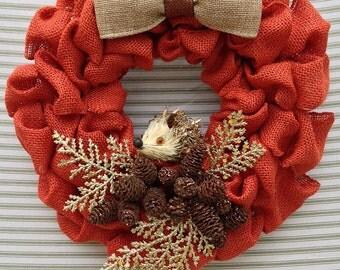 Hedgehog Wreath, Burlap Wreath, Burlap Hedgehog Wreath, Orange Burlap Wreath, Woodland Burlap Wreath, Rustic Burlap Wreath, Fall Wreath