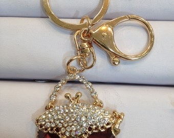 Handbag Keychain Purse Charm With Rhinestones Crystals Ship From NY
