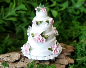 Miniature Wedding Cake with Pink Flowers