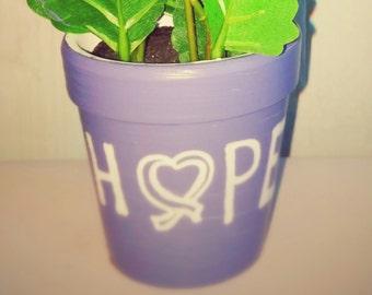 """Smaller """"Hope"""" flower pot, Relay for Life"""