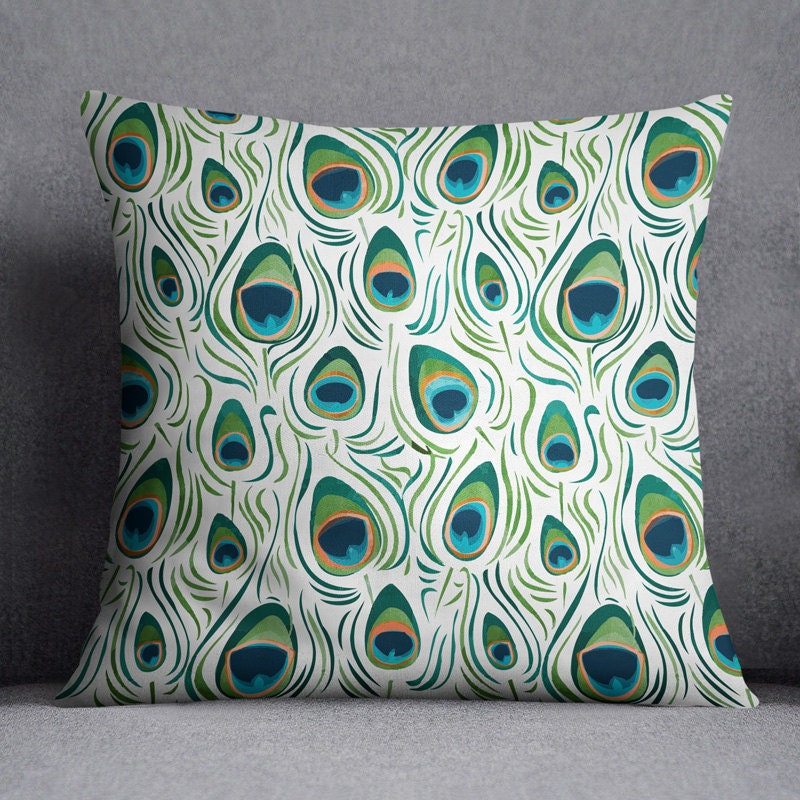 Peacock pillow Peacock decor Peacock feathers Animal pillow