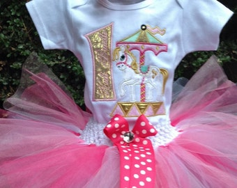 Pink Gold Carousel 1st Birthday Outfit Onesie Tutu FREE Hair Bow Personalized Horse Bling